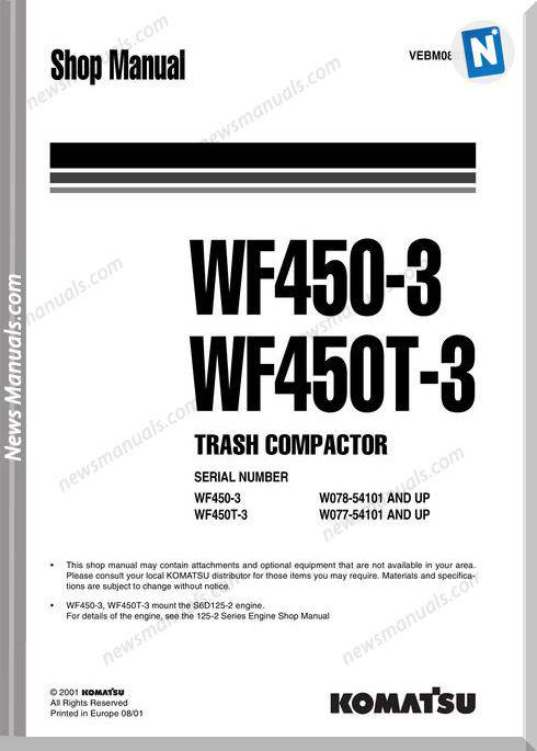 Komatsu Trash Compactors Wf450T-3 Workshop Manuals