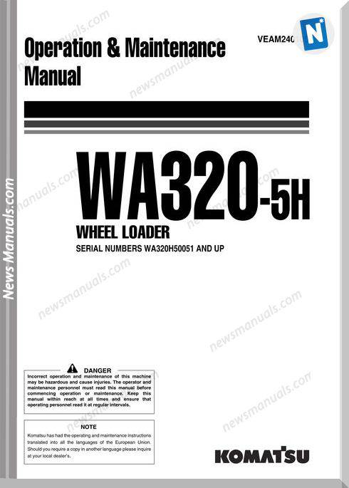 Komatsu Wa320 5H Operation Maintenance Manual