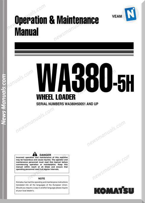 Komatsu Wa380 5H Operation Maintenance Manual