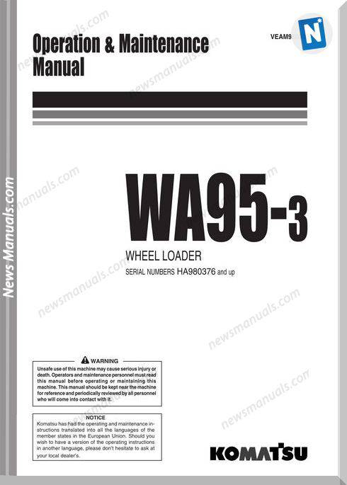 Komatsu Wa95 3 Operation Maintenance Manual