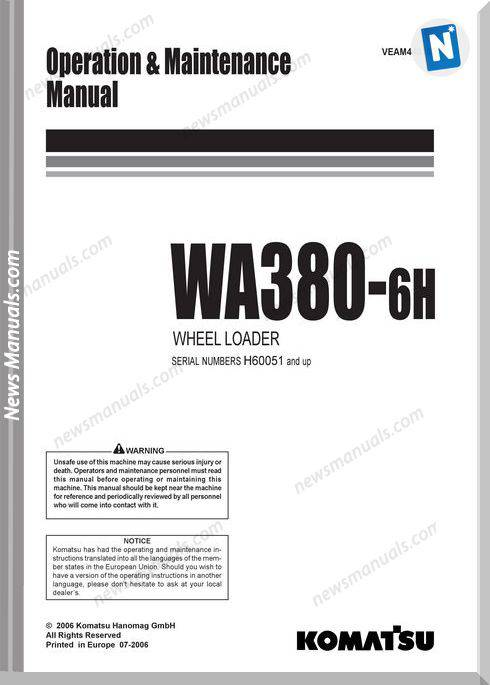 Komatsu Wheel Loader Wa380 6 Om And Maintenance Manual