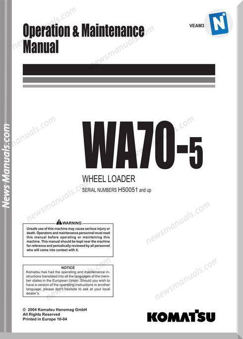 Komatsu Wheel Loader Wa70 5 Om And Maintenance Manual