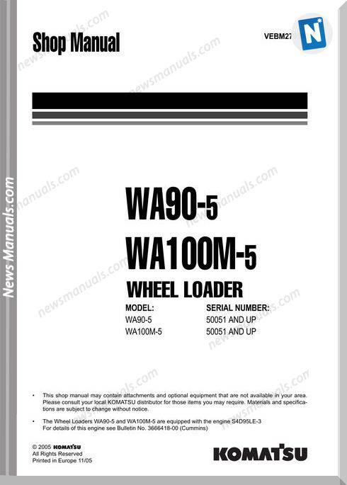 Komatsu Wheel Loaders Wa100M-5 Shop Manual