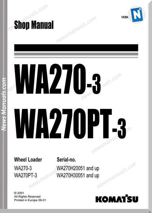 Komatsu Wheel Loaders Wa270Pt-3 Shop Manual