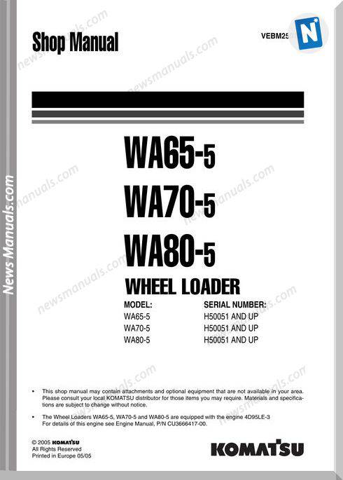 Komatsu Wheel Loaders Wa80-5 Shop Manual