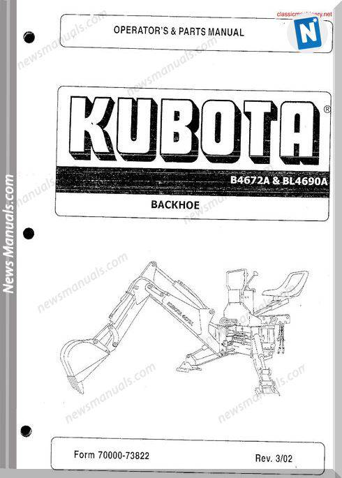 Kubota B4672A Bl4690A Operation And Parts