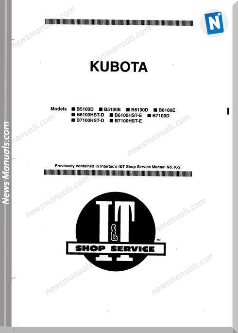 Kubota B5100 B7100 Service Manual