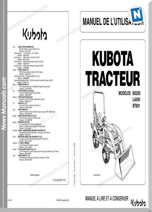 Kubota Bx25D Series Workshop Manual