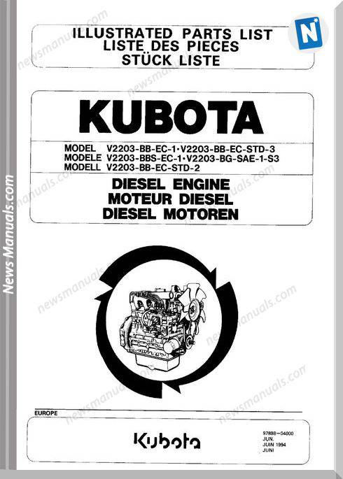 Kubota Diesel Engine V2203 Parts List