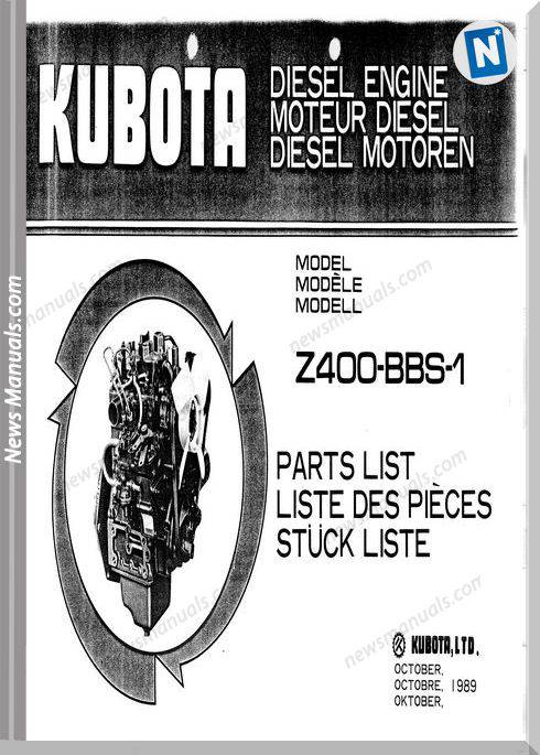 Kubota Diesel Engine Z400-Bbs-1 Parts Manual