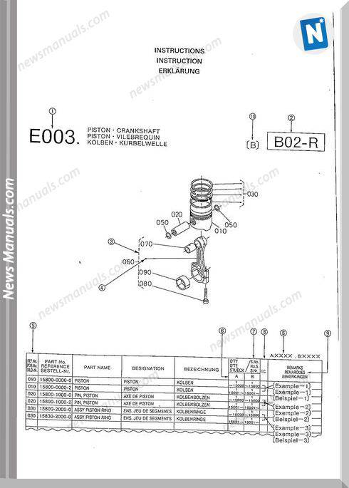 Kubota Diesel Engine Z402-B Aixam-1 Parts Manual