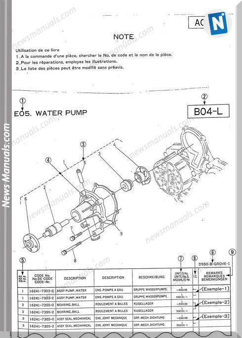 Kubota Engine D1302-Bbs-1 Parts Manual