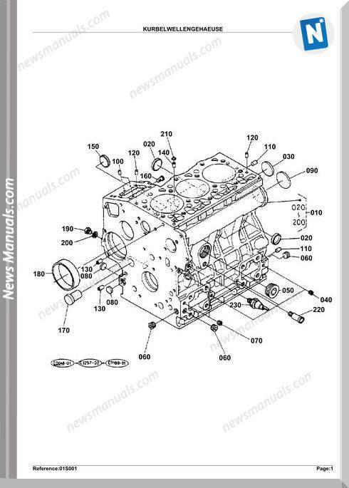 Kubota Engine Kx61H N50001,55000 Parts Manuals