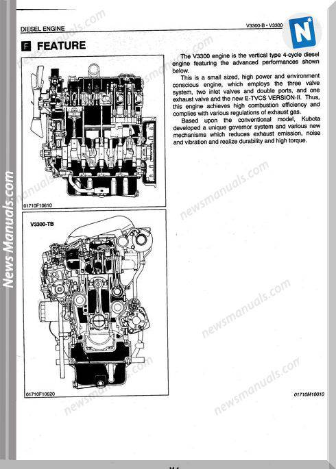 Kubota Engine V3300-B,Tb English Workshop Manuals