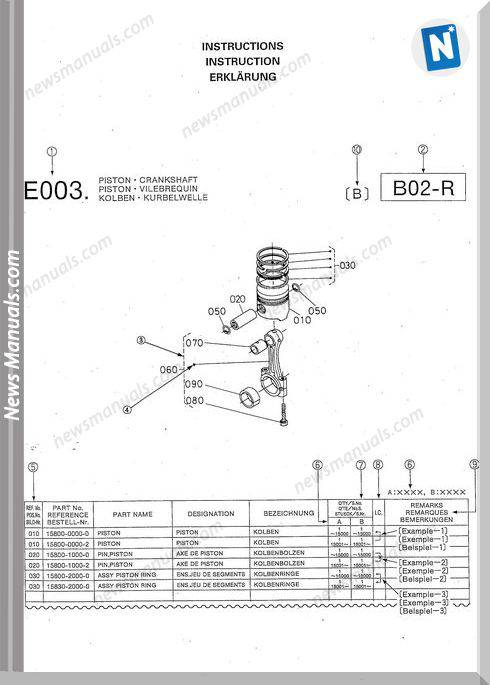 Kubota Engine V3300-T-Ebb-Ec-Std3 Parts Manuals