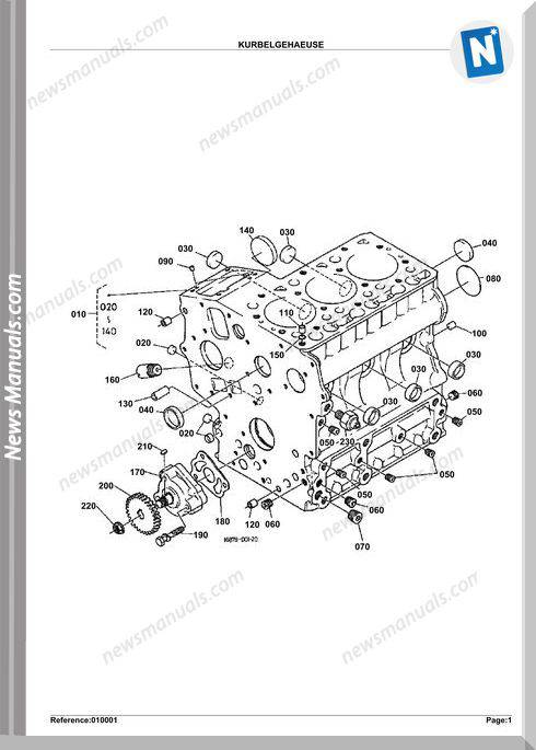 Kubota Excavator K008 Alpha Parts Manual
