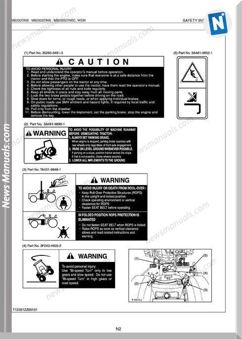 Kubota M8200Dnb M8200Sdnb M8200Sdnbc Workshop Manual