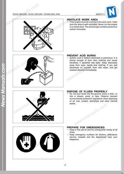 Kubota Series Rck48 Rck54 Rck60B E Workshop Manual