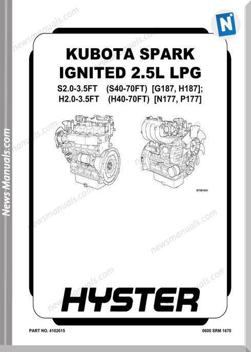 Kubota Spark Ignited 2.5L Lpg Service Manual
