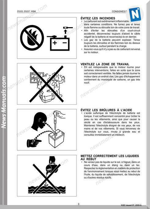 Kubota Zg222 Zg227 French Workshop Manual