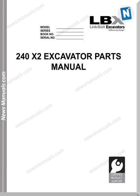 Linkbelt Excavators 240 X2 Part Manual