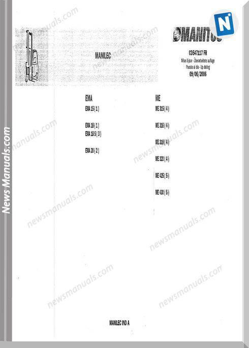 Manitou Forklift Cd547117Fr Models Models Parts Manual