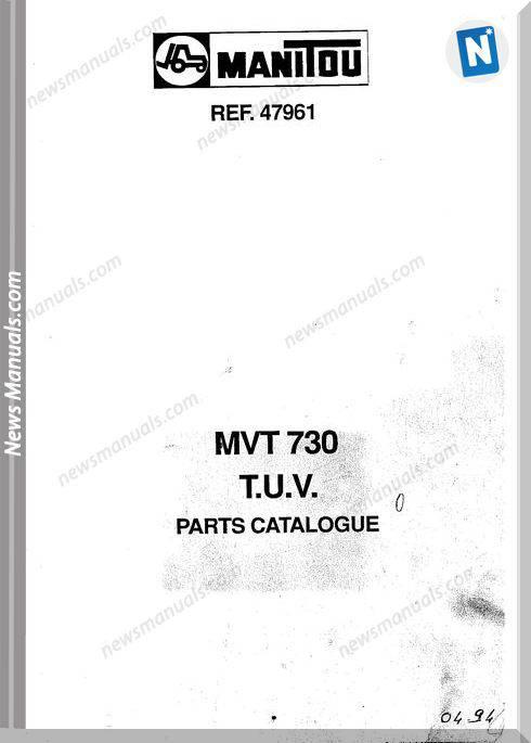 Manitou Forklift Mvt 730 47961 Models Parts Manual