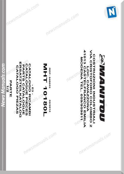 Manitou Mht10180L Telescopic Handler Parts Manuals