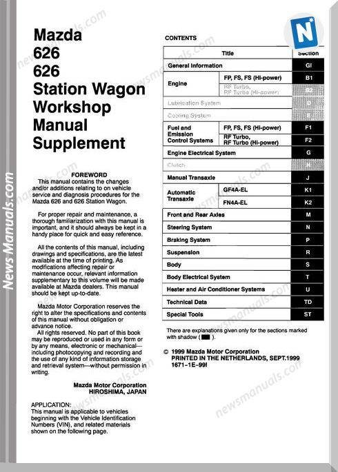 Mazda 22 Mazda 626 1998 2002 Workshop Manual