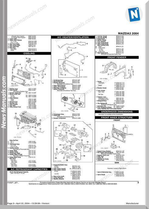 Mazda 3 2004 Parts Catalogue