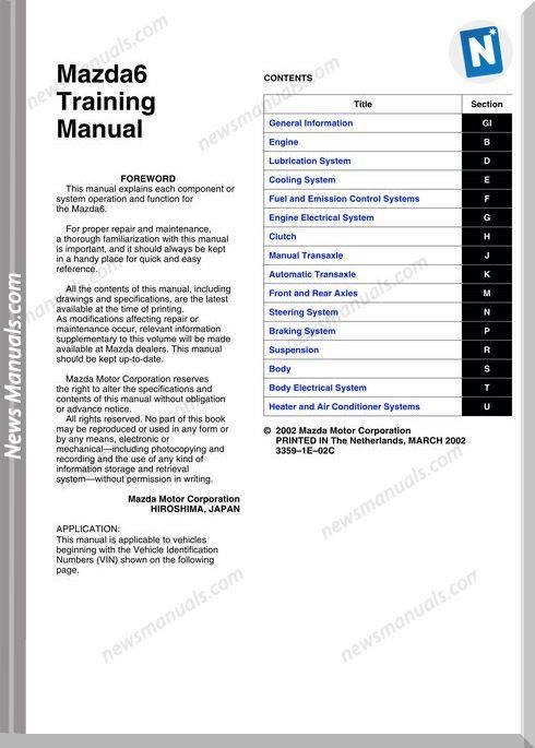 Mazda 6 2002 Training Manual