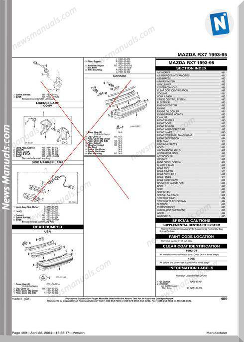 Mazda Rx 7 1993 1995 Parts Catalogue