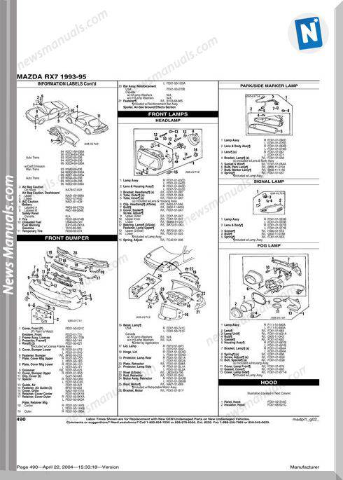 Mazda Rx 7 1993 1995 Parts Catalogue