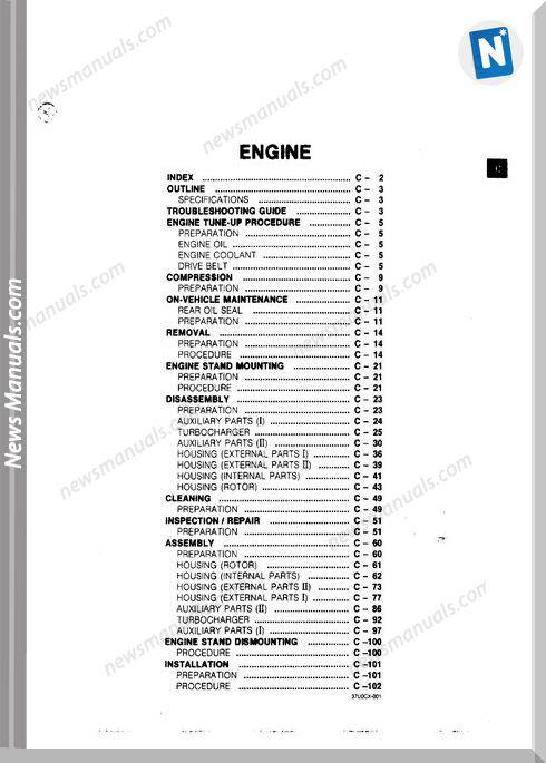 Mazda Rx 7 Turbo Rotary Engine Service Manual