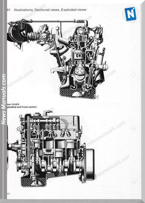 Mercedes Benz G Wagen 460 230G 115 973 Engine Workshop Manual