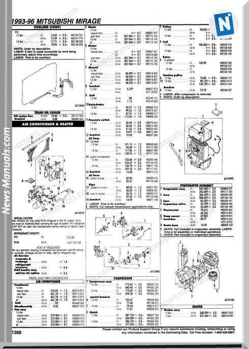 Mitsubishi Lancer Parts Listing Complete 93 96