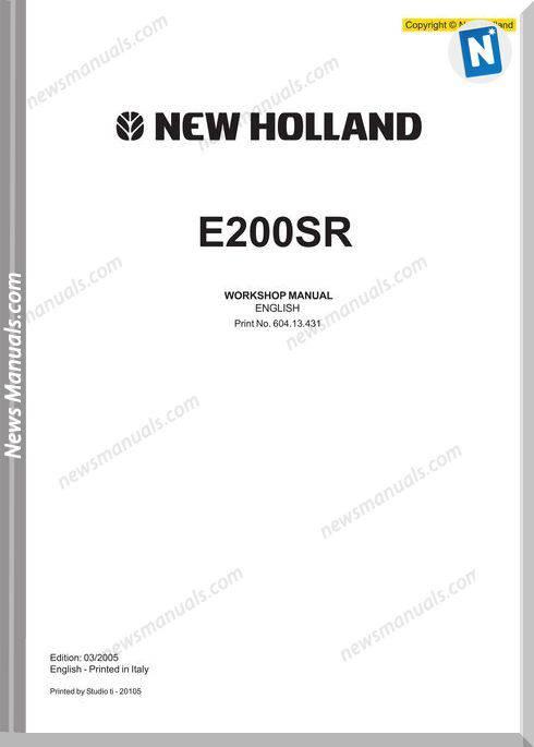 New Holland Excavator E200Sr En Service Manual