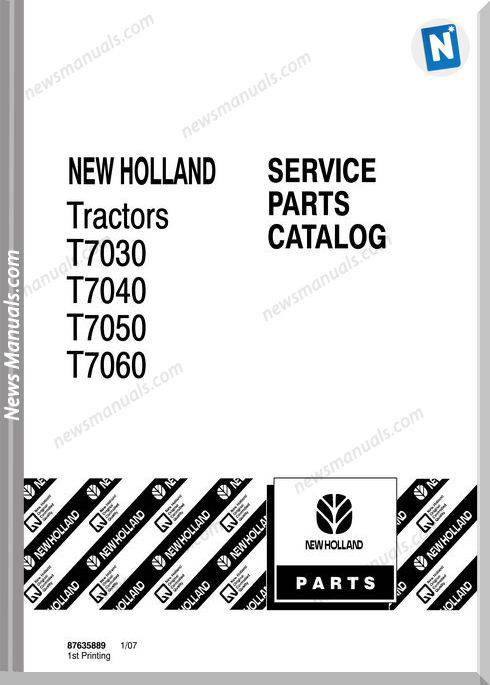 New Holland Tractor T7000 Serie Parts Manuals