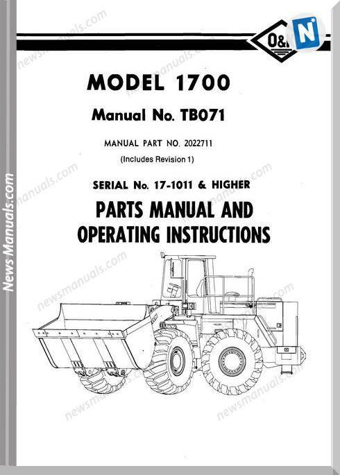 O K 1700 2 Models Part Manual
