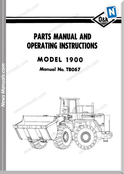 O K 1900 Models Part Manual