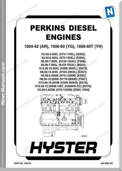 Perkins Diesel Engine 1004 42 Ar 1006 60 Yg 1006 60T Yh