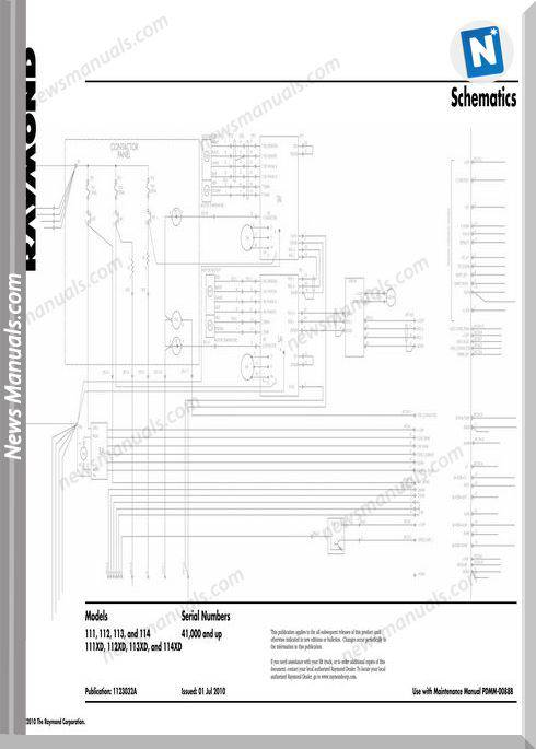 Raymond Forklift S111-114- Sn41000 Up Schematics Manual