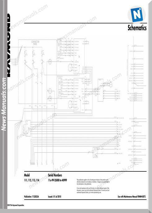 Raymond Forklifts 111 To 114- Sn 25000-40999 Schematics