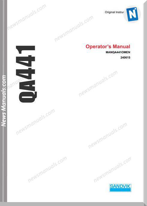 Sandvik Model Manqa441Omen Operators Manual