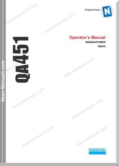 Sandvik Model Manqa451Omen Operators Manual
