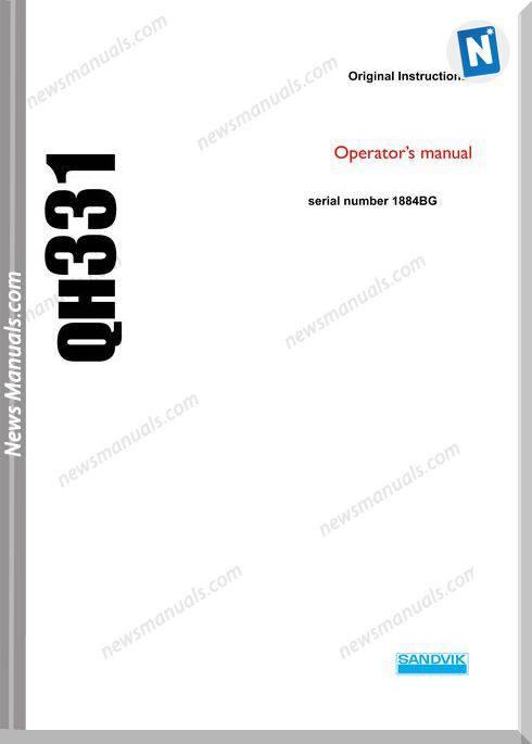 Sandvik Model Qh331 Operators Manuals