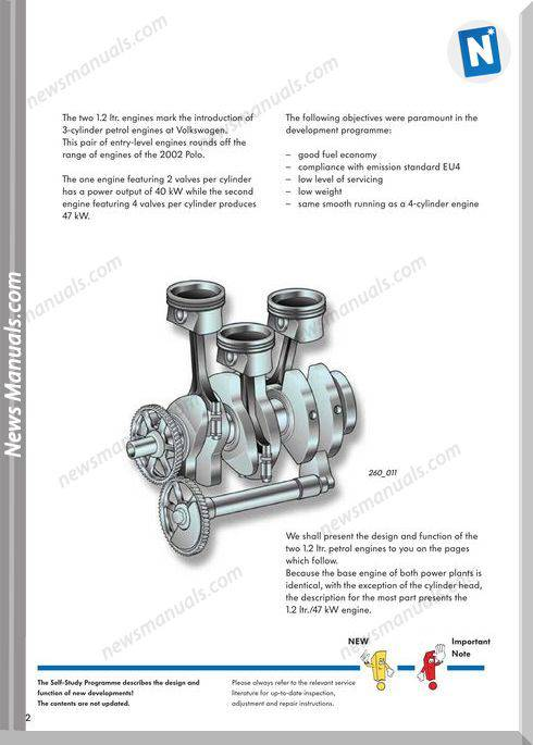 Self Study Book 260 The 1 2 Ltr 3 Cylinder Petrol Engines