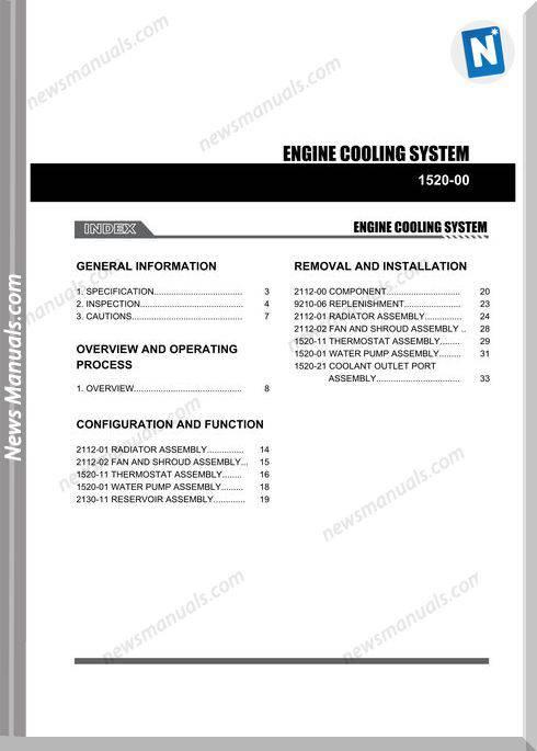 Ssang Yong Korando Actyon 2010 2013 Engine Cooling System