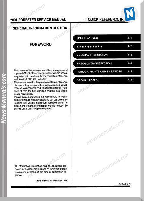 Subaru Forester S10 2001 Service Manual