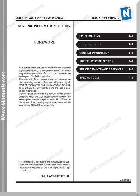 Subaru Legacy B12 2000 Service Manuals